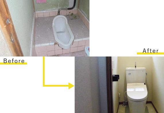 トイレの和式⇒洋式リフォーム工事ビフォーアフター